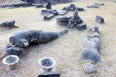 handscraft: Pile of broken stones carving of classical Lao P.D.R. construction at Prasat Vat Phou Stock Photo