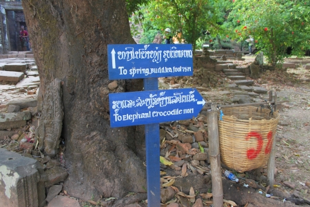 indo china: Telling way sign to the places in classical construction on January 13, 2013 at Prasat Vat Phou, Champasak, Lao P.D.R.