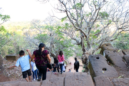 handscraft: CHAMPASAK, LAO P.D.R. - JANUARY 13 : Unidentified tourists are visiting to classical construction on January 13, 2013 at Prasat Vat Phou, Champasak, Lao P.D.R.
