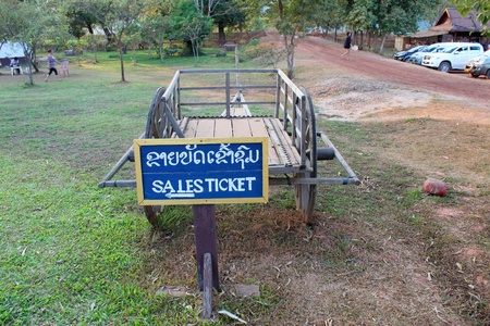 handscraft: Telling way sign to ticket booth on January 13, 2013 at Prasat Vat Phou, Champasak, Lao P.D.R.