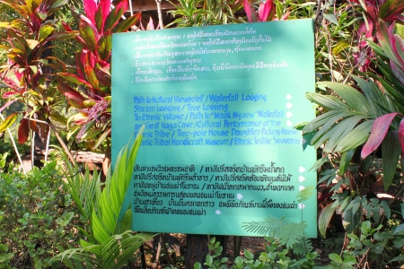 indo china: Telling way sign at Pha Suam Waterfall on January 13, 2013 at Pak Se, Champasak, Lao P.D.R.