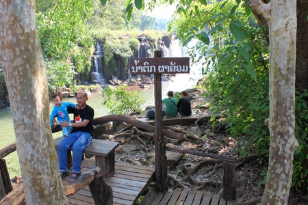 indo china: PAK SE, CHAMPASAK, LAO P.D.R. - JANUARY 13 : Unidentified tourists are visiting to Pha Suam Waterfall on January 13, 2013 at Pak Se, Champasak, Lao P.D.R.