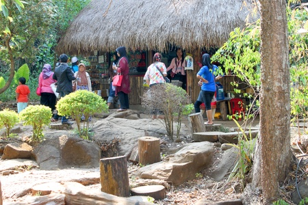 indo china: PAK SE, CHAMPASAK, LAO P.D.R. - JANUARY 13 : Unidentified tourists are visiting to Pha Suam Waterfall and shopping at local store on January 13, 2013 at Pak Se, Champasak, Lao P.D.R. Editorial