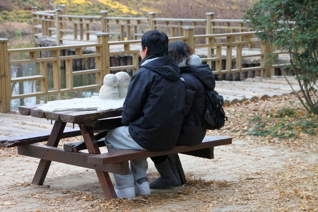 NAMINARA REPUBLIC, KOREA - NOVEMBER 26 : Unidentified tourists are sitting on snow statue tray table of first kiss on November 26, 2011 at Nami island, Naminara Republic, Korea.