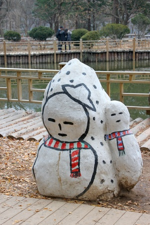 Snow statue on November 26, 2011 at Nami island, Naminara Republic, Korea.