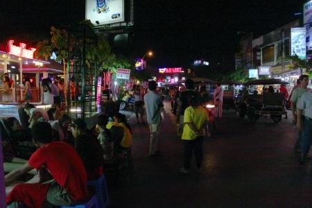 SIEMREAP, KHMER REPUBLIC - FEBRUARY 24 : Feet massage are serviced at night market on February 24, 2013 in Siemreap, Khmer Republic.