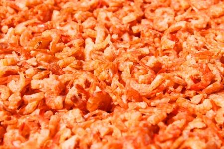 dried tiny prawns in local market
