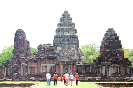 KORAT, THAILAND - JUNE 10 : Unidentified tourists are visiting to ancient Khmer construction style Phimai sanctuary on June 10, 2013 in Korat, Thailand. Stock Photo - 20648489