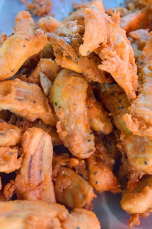 sweetmeat: deep-fried sliced banana - kluay khek, Thai sweetmeat  Stock Photo