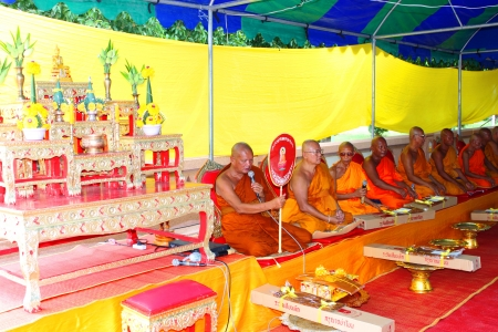 preach: MAHASARAKHAM, THAILAND - JULY 22 : Unidentified monks worship Buddha statue and preach at Nadun Pagoda in Buddhist Lent festival on July 22, 2013 in Mahasarakham, Thailand.