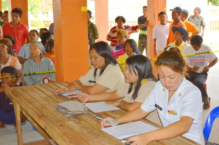 headman: MAHASARAKHAM, THAILAND - APRIL 22 : Unidentified officers count and check result of village headman election counting on April 22, 2013 in Ban Nong Weang, Muang, Mahasarakham, Thailand. Editorial