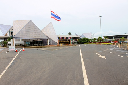 VANG TAO, LAO P D R  - JULY 28   Entrance of Thai - Lao border business center on July 28, 2013 in Vang Tao, Lao P D R