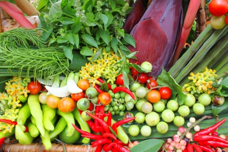Northeastern Thai local vegetables and fruits in basket decoration Stock Photo - 21389886