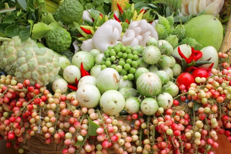 Northeastern Thai local vegetables and fruits in basket decoration Stock Photo - 21408311