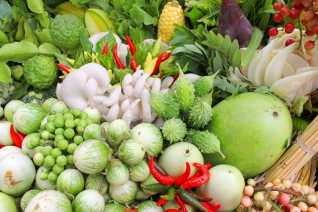 Northeastern Thai local vegetables and fruits in basket decoration Stock Photo - 21685787