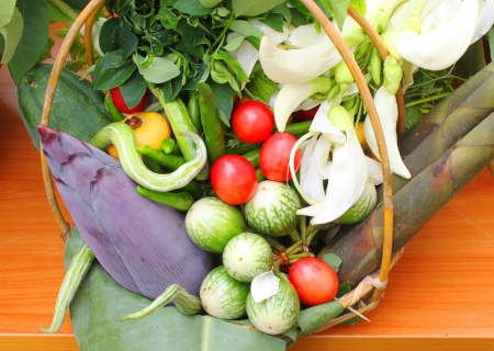Northeastern Thai local vegetables and fruits in basket decoration Stock Photo - 21685789