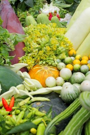 northeastern: Northeastern Thai local vegetables and fruits in basket decoration