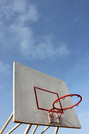 the height of a rim: Old basketball hoop and board on blue sky  Stock Photo