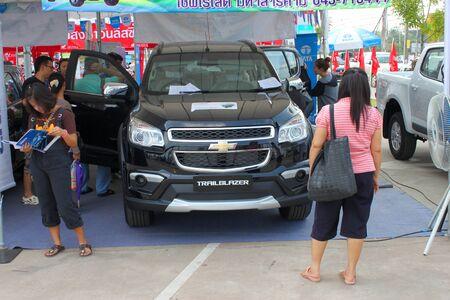 trailblazer: MAHASARAKHAM - OCTOBER 23   The Trailblazer car is on display at Serm Thai Complex car parking on October 23, 2013 in Mahasarakham, Thailand