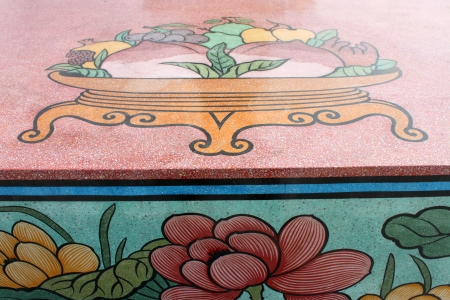 generality: Chinese style painting on wall of shrine in Thailand  Generality in Thailand, any kind of art decorated in Buddhist church or shrine etc  created with money donated by people, no restrict in copy or use   Stock Photo