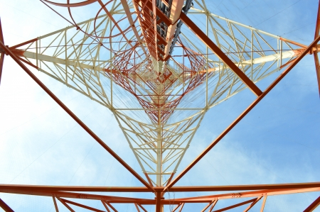 bottom mesh transmission power tower photo
