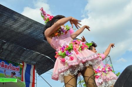 gracefully: PAYAKKAPHUMPHISAI, MAHASARAKHAM - DECEMBER 14   Dancers perform Som Tam Lee La in proceed gracefully show at city hall plaza on December 14, 2013 in Payakkaphumphisai, Mahasarakham, Thailand  Editorial