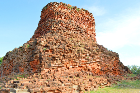 Meru Brahmathat, a large brick chedi on mound constructed in the latter part of the Ayutthaya period in the 18 th century A D  in Phimai, Korat, Thailand photo