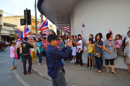 MAHASARAKHAM, THAILAND - January 13   Political protesters settle down at central city intersection to campaign for overthrow cabinet and government on January 13, 2014 in Mahasarakham, Thailand