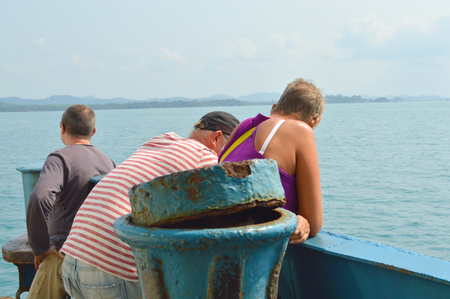 KOH CHANG, TRAT - FEBRUARY 28   Tourists are relaxing at prow of ferry boat on February 28, 2014 in Koh Chang, Trat, Thailand  Koh Chang is the country