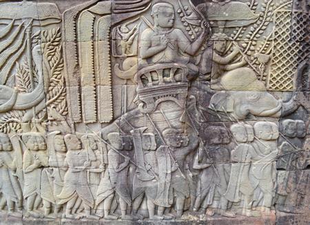 bayon: Carvings on wall at the Bayon of Angkor Thom, Siemreap, Khmer Republic   Stock Photo