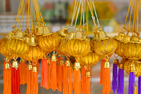 holy pumpkins top of Na Dun pagoda souvenirs as Buddhist sacred objects photo