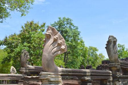 korat: naga statue at Phimai historical park of Korat, Thailand
