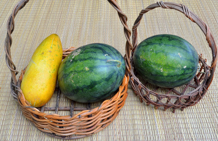 musk: musk melon and green melon in basket