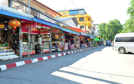 indo china: MUKDAHAN - MAY 20   Department stores are located in Mukdahan business center at Indo-China market on May 20, 2014 in Mukdahan, Thailand  Mukdahan is also city of Thai - Lao P D R  border business center