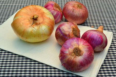 tela algodon: pila de cebollas org�nicas en el pa�o de algod�n en la cocina Foto de archivo