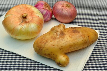 tela algodon: org�nico patata y cebolla en tela de algod�n en la cocina Foto de archivo