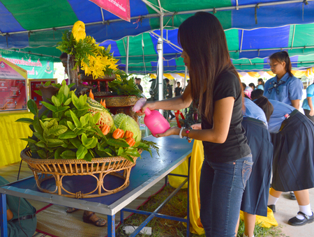 woman squirt: MAHASARAKHAM - JUNE 12   Woman is squirting water to decorated carved fruits on displayed at Hua Chang village mobile public services project on June 12, 2014 in Mahasarakham, Thailand