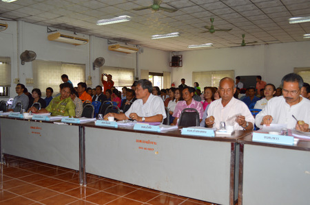MAHASARAKHAM - JUNE 17 - Government officers are meeting in a conference hall at Kaeng Lerng Jan Subdistrict Administrative Organization on June 17, 2014 in Mahasarakham, Thailand