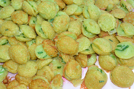 emulsifier: khanom khrok or Thai sweetmeat pancake made from rice flour with coconut milk or just plain shredded coconut as an emulsifier