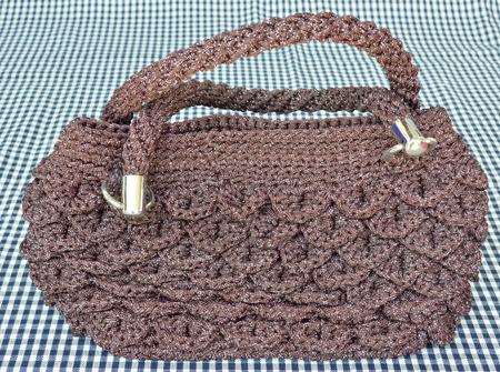 tela algodon: bolso de nylon bonita en el pa�o de algod�n Foto de archivo