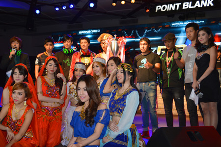 compiler: BANGKOK - AUGUST 2   Team organizers are in grand opening of Point Blank Thailand Championship 2014 at Queen Sirikit national convention center on August 2, 2014 in Bangkok, Thailand