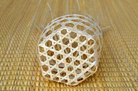 handmade woven bamboo wicker basket container photo