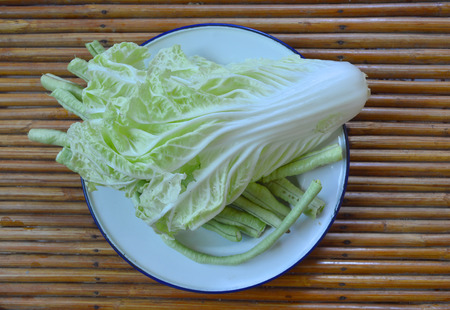 side dishes: Chinese cabbage and cow-pea vegetables as food and side dishes