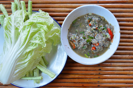 cow pea: Thai chili paste, Chinese cabbage and cow-pea vegetables as food and side dishes