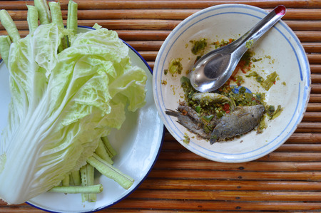 side dishes: Thai chili paste, Chinese cabbage and cow-pea vegetables as food and side dishes