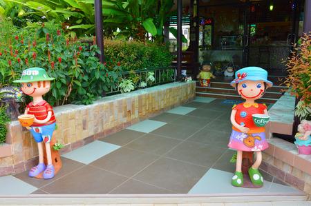 mahasarakham: MAHASARAKHAM - OCTOBER 7 : Shop front decoration characteristic of SPP Coffee on October 7, 2014 in Mahasarakham, Thailand. Editorial