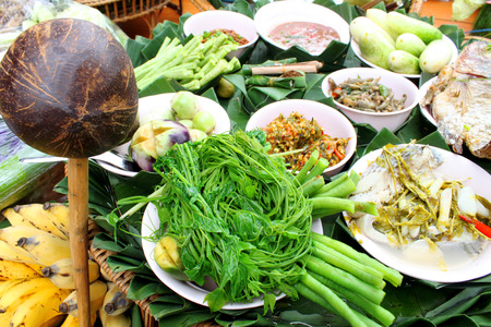 northeast: food meal decoration in Northeast Thailand
