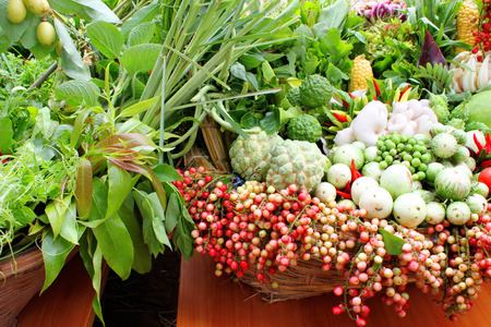 soft sell: vegetables and fruits meal decoration in Northeast Thailand
