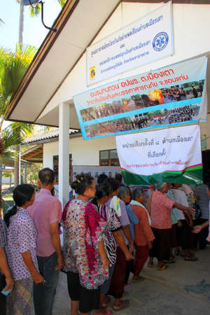 polling booth: PAYAKKAPHUMPHISAI MAHASARAKHAM  JUNE  28 : Villagers go to vote for representative of the office of farmers reconstruction and development fund on June 28 2015 in Payakkaphumphisai Mahasarakham Thailand.