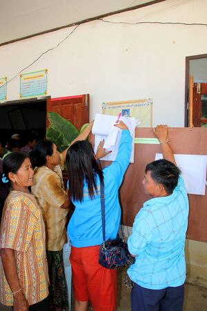 polling booth: PAYAKKAPHUMPHISAI MAHASARAKHAM  JUNE  28 : Villagers check name list to vote for representative of the office of farmers reconstruction and development fund on June 28 2015 in Payakkaphumphisai Mahasarakham Thailand. Editorial
